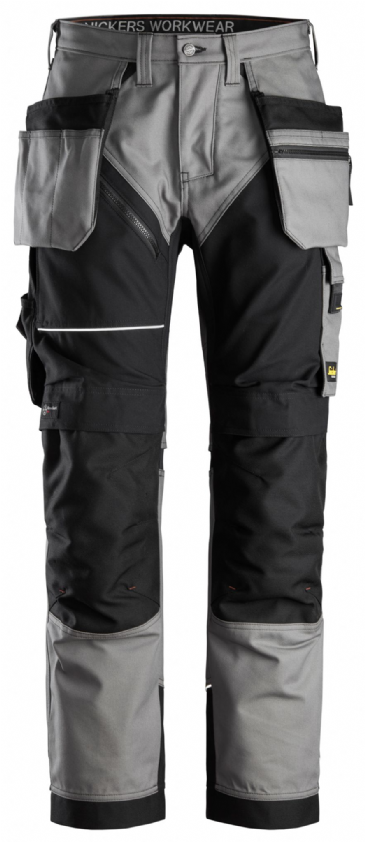 Snickers 6214 RuffWork Canvas+ Heavy Duty Work Trousers+ Holster Pockets (Grey/Black)